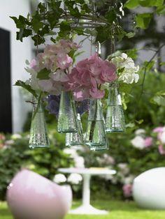 Hydrangeas in hanging vases