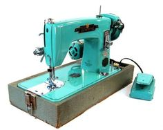 Vintage Turquoise Wizard Precision Sewing Machine by by Retroburgh