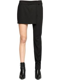 FILLES A PAPA - HALF SKIRT & ONE LEG TUXEDO PANTS - PANTS - BLACK - LUISAVIAROMA