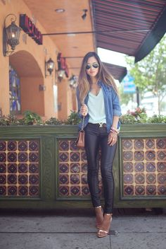 Sunday Brunch Outfit!  Denim shirt + loose v-neck + leather pants + and sandals! xo streetstyle-love