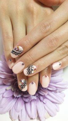 Nails, Nail Art, Nail Design, Japanese Nail Art, Manicure, Oval Nails, Short Nails, Lace, Rhinestones, Black, Purple, Red, Yellow, Blue, Pale Pink, Light Pink, Powder Pink, Pink, White