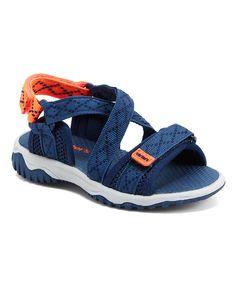 Take a look at this Navy Blue & Orange Splash Sandal today!