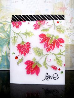 """Vibrant Floral card using the @altenew """"Persian Motifs"""" Clear Stamp Set #rubberstamping"""