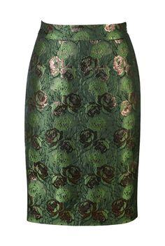 Green jacquard skirt