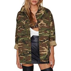 65faaad22ea4 Women's Clothing, Coats, Jackets & Vests, Casual Jackets, Women Casual V  Neck Pockets Zipper Button Boyfriend Camo Jacket - Green - Jackets