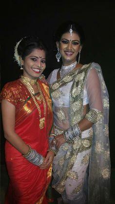 two beauties in nauvari saree