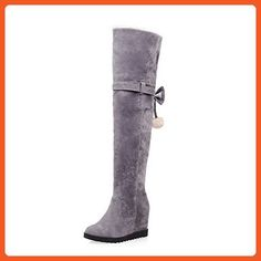 AllhqFashion Women's Frosted Round Closed Toe Solid High Top High Heels Boots, Gray, 41 - Boots for women (*Amazon Partner-Link)