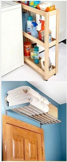 Easy Organization Above-door shelf. Had this in France awesome use of space!…Easy Organization 18 tips, hints and ideas to make organization easy and simplify everyday living Bathroom Organization, Bathroom Storage, Organization Hacks, Organizing Ideas, Diy Storage, Organizing Labels, Storage Ideas, Storage Cart, Kitchen Storage