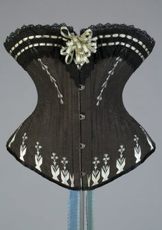 Black corset trimmed with pale blue flossing and ribbons, Polish, 1880s, KSUM 1983.1.1500