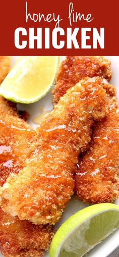 healthy food recipes chiken dinner cooking Crispy Honey Lime Chicken Recipe - crispy panko-crusted chicken tenders, drizzled with lime juice and sweet honey. This family friendly dinner idea is a huge hit every single time! Lime Chicken Recipes, Honey Lime Chicken, Balsamic Chicken, Recipes With Chicken Tenders, Kid Friendly Chicken Recipes, Breaded Chicken Recipes, Recipe Chicken, Baking With Honey, Crusted Chicken