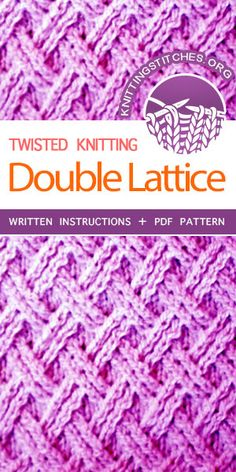 Knitting Stitches -- Learn How to knit the Double Latticen stitch - Twisted stitch pattern. Free instructions Knitting Stitches -- Learn How to knit the Double Latticen stitch - Twisted stitch pattern. Knitting Stiches, Crochet Stitches Patterns, Loom Knitting, Knitting Patterns Free, Knitting Scarves, Knit Stitches, Easy Knitting, Loom Patterns, Ideas