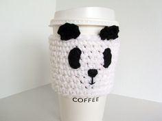 Coffee Cup Cozy  Playful Panda Crochet Cup Cozy by JMcnallyDesigns, $15.00