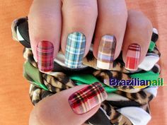 plaid manicure for bridesmaids (thumb nail print). I'm love love loving the plaid!!