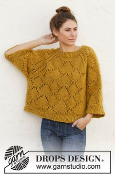 Summer shells / DROPS - free knitting patterns by DROPS design Knitted sweater with raglan in DROPS Eskimo. The piece is knitted with lace pattern from top to bottom. Sizes S - XXXL. Free Chunky Knitting Patterns, Jumper Knitting Pattern, Drops Design, Crochet Summer Hats, Crochet Top, Hat Crochet, Crochet Clothes, Raglan, Garne