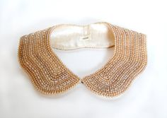 50s Collar / Peter Pan Collar / Pearl Collar / Lace Collar / 1950s Vintage Accessories / Women Accessories    Elegant 1950s hand beaded vintage