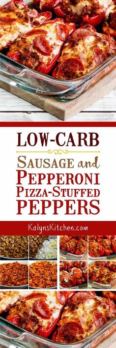 Low-Carb Sausage and Pepperoni Pizza-Stuffed Peppers are a great low-carb dinner idea with pizza flavors. This recipe is also Keto, low-glycemic, gluten-free, and can be South Beach Diet friendly. Keto Foods, Ketogenic Recipes, Paleo Recipes, Low Carb Recipes, Dinner Recipes, Cooking Recipes, Low Carb Pizza, Low Carb Keto, Low Carb Casseroles