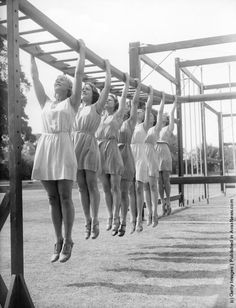 International pupils at an outdoor physical education class at the English-Scandinavian Summer School in Milner Court, Sturry, Kent. August 7th, 1935. Photo by William Vanderson/Fox Photos/Getty Images.