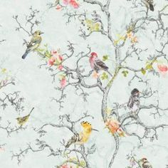 Statement Ornithology Birds Metallic Wallpaper - B&Q for all your home and garden supplies and advice on all the latest DIY trends Metallic Wallpaper, White Wallpaper, Wall Wallpaper, Pattern Wallpaper, Duck Egg Blue Wallpaper, Blue Wallpaper Bedroom, Feature Wallpaper, Botanical Wallpaper, Chinoiserie