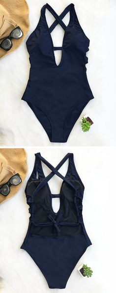 New arrival~ Sporty and stylish! One-piece design and navy blue color. Phenomenal and elegant! FREE shipping. Find more beach faves at Cupshe.com!