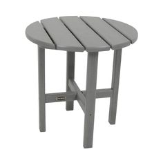 Polywood Round Patio Side Table - Gray
