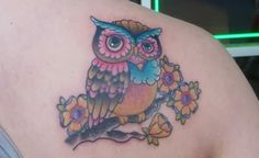 Cute Owl On Blossom Branch Tattoo On Right Back Shoulder