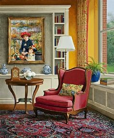 Jenness Cortez (American, On the Seine, 2013 Room Interior, Interior Design, Inside Art, Cottage Art, Wow Art, Country Art, Cozy Place, Cozy House, House Painting