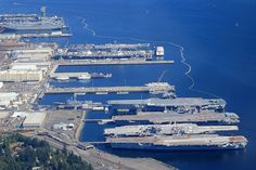 Bremerton Naval Shipyard. from front to rear CV-62 USS Independence CV-63 USS Kitty Hawk CV-64 USS Constellation CV-61 USS Ranger