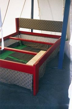 Bed in an Afternoon -  come apart queen size bed frame for air mattress with room for lotsa bins underneath