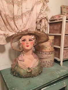 RARE Antique Vintage Boudoir Sofa Doll Head Candy Chocolate Box Hat Metallic…
