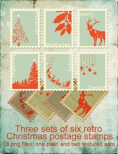 3 Sets of 6 Retro Christmas Postage Stamps