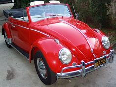 1963 VW Beetle Convertible I would love an old red bug convertible!