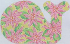 Lilly-inspired whale pink tropical flowers on lemon yellow