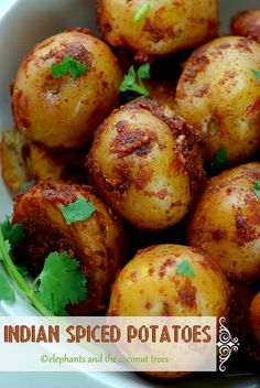 elephants and the coconut trees: Indian Spiced Potatoes   #ComfortFoodFeast  . . . . . . . #Potatoes . . . . . . .  #Vegan  .  .  .  .  Aromatic and flavorful masala coated potatoes with just 2 tsps of oil.