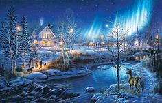 All is Bright Winter 1000 piece Jigsaw Puzzle SunsOut Made in USA James Meger Christmas Puzzle, Christmas Art, Winter Christmas, Vintage Christmas, Christmas Things, Christmas Animals, Christmas Projects, Beautiful Christmas, Christmas Ideas