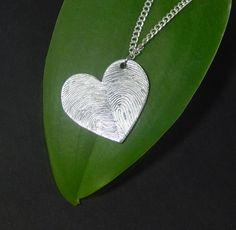 Custom Personalized Fingerprints Heart Pendant Necklace