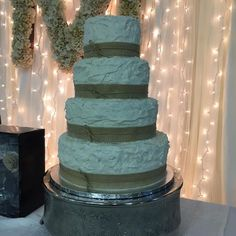 Fox Confections - Austin Cakes - Rustic four-tier wedding cake with ruffle frosting and burlap ribbon