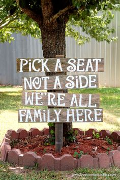 Pick A Seat Not A Side Sign Rustic Wedding Sign by TRUECONNECTION