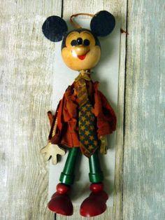 ディズニーミッキー木製◆マリオネットこけしアンティークyy237_画像1