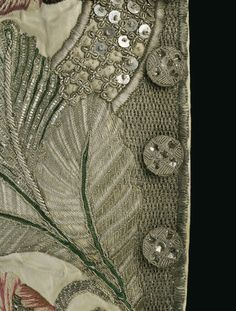 Great Britain, waistcoat, Embroidered satin with silk and silver threads, lined with ribbed silk and fustian, ca. 1745