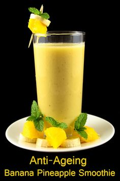 Banana Pineapple: Chilled Almond Milk 3 cups, Pineapple pieces 1 cup, Banana 1 (large size) Honey 2 tablespoons Ginger Paste ¾ teaspoon Small Ice Cubes 8 (2 cubes per serving) Cinnamon Powder for seasoning Black Pepper ½ teaspoon - Serves 4 -