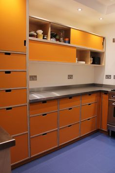 orange birch ply kitchen by Peter Henderson Furniture, Brighton, UK Not this colour, but the drawers look good. How To Clean Furniture, White Furniture, Plywood Furniture, Furniture Cleaning, Furniture Ideas, Modern Kitchen Cabinets, Kitchen Furniture, Kitchen Interior, Kitchen Reno