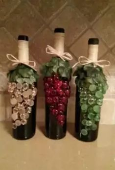 Glass Stone Decorated wine bottle by WineMeUpBoutique on Etsy
