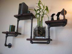 Industrial Plumbing Pipe Shelf - Four Tier Walnut. $239.00, via Etsy.