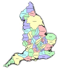 """County names may come viaa division that took its name from a centre of admin., an ancient kingdom, or an area occupied by an ethnic group. Most are in the 1st category: name of central town with the suffix """"-shire"""" as Yorkshire. Former kingdoms became earldoms in united England e.g. Kent, former kingdom of Jutes. Counties ending in the suffix """"-sex"""" are former Saxon kingdoms.The 3rd category includes counties such as Cornwall, Devon where names correspond to tribes."""