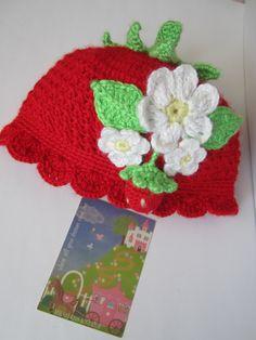 Crochet Girls Hat Strawberry Red Strawberry Hat by MILAVIKIDS