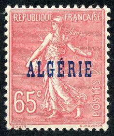 "Algeria 1924 Scott 24 65c rose, blue overprint ""Sower"""