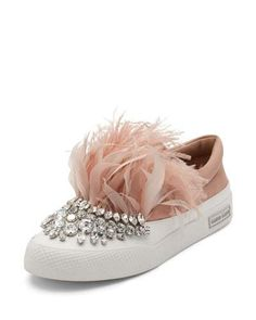 """Miu Miu satin skate sneaker. 1"""" flat platform heel. Jeweled round toe. Goose and ostrich feather vamp. Slip-on style. Rubber sole."""