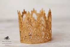 Vintage Inspired Gold Lace Crown/Tiara newborn, baby or child photography prop by Robins Nest Boutique
