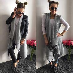 NOVINKA Sivá upletová maxi vesta lemovaná mini brmbolcami /veľ.UNI IHNEĎ K ODBERU 2990 Objednaj v directe na fb alebo priamo na http://www.tvojstyl.fashion