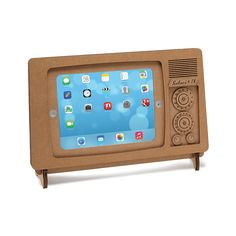 Don't touch that dial--this recycled cardboard stand gives your iPad the look of a retro TV.